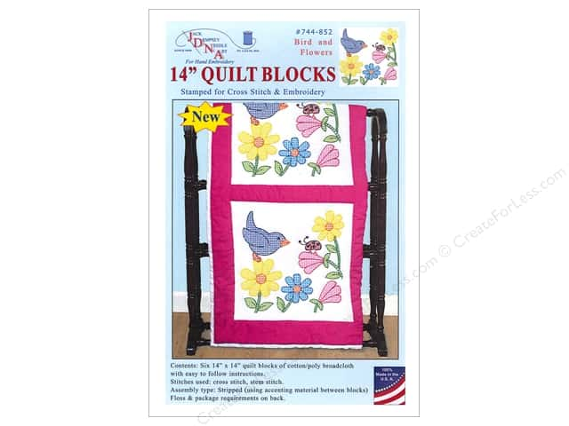 Jack Dempsey 14 in. Quilt Blocks 6 pc. Bird And Flowers