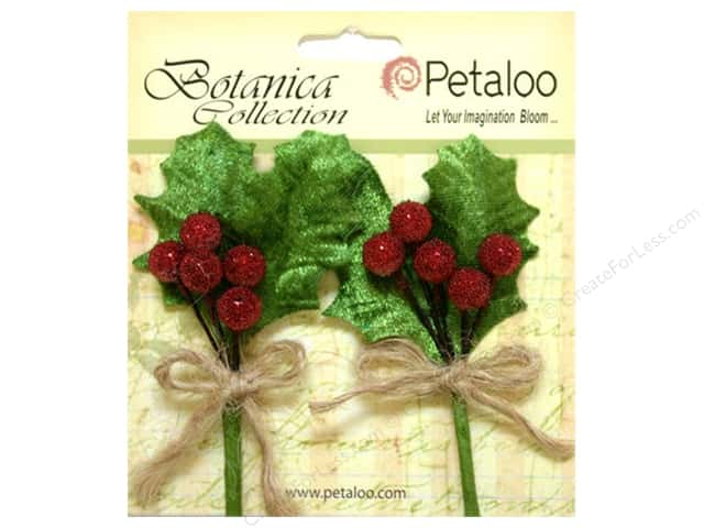 Petaloo Botanica Collection Holiday Pick Beaded Berries Red