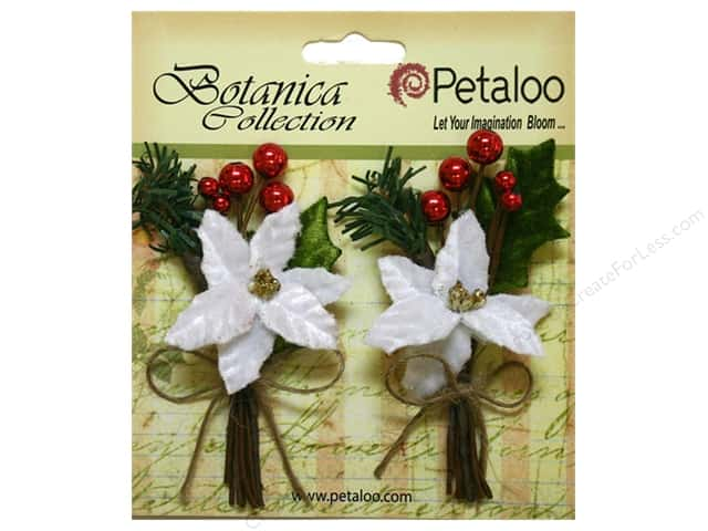 Petaloo Botanica Collection Holiday Pick Pine Poinsettia & Berry White