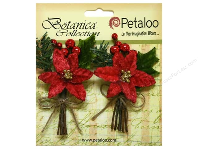 Petaloo Botanica Collection Holiday Pick Pine Poinsettia & Berry Red