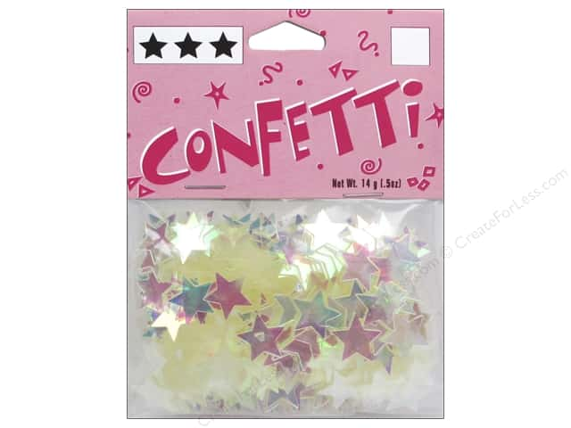 Darice Confetti Pack 11 mm Stars .5 oz. Iridescent