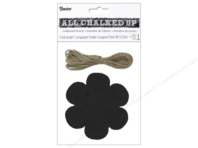 Darice Chalkboard Wood Banner 4 in. Flower