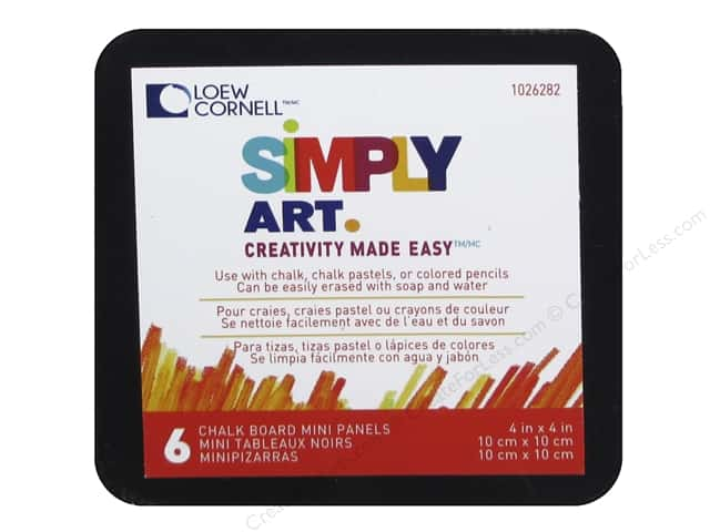 "Loew Cornell Simply Art Chalkboard Panel 4""x 4"" 6pc"