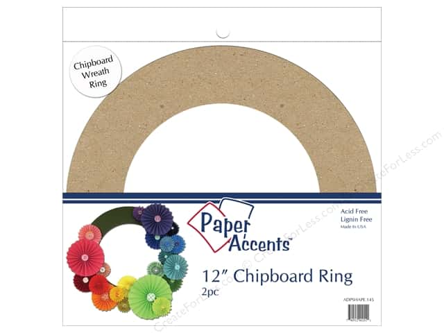 Paper Accents Chipboard Shape 12 in. Wreath 2 pc. Natural