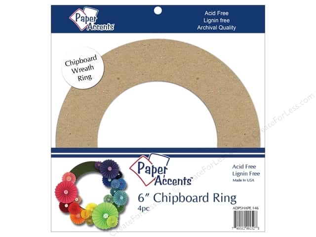 Paper Accents Chipboard Shape 6 in. Wreath 4 pc. Natural