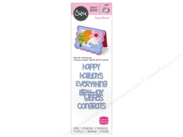Sizzix Thinlits Die Set 5 pc. Happy Drop-ins Sentiments
