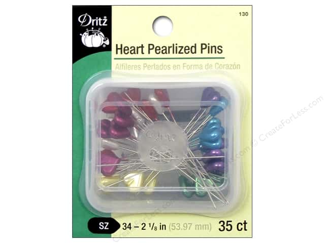 Dritz Pins Heart Pearlized Size 34 35pc
