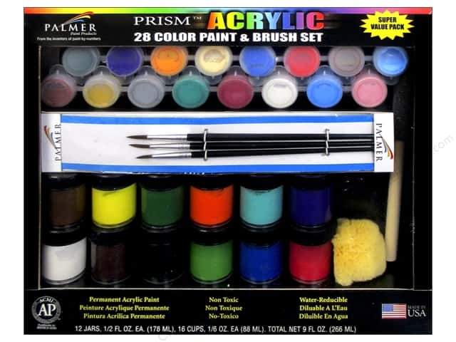 Palmer Acrylic Paint & Brush Set -  28 Color