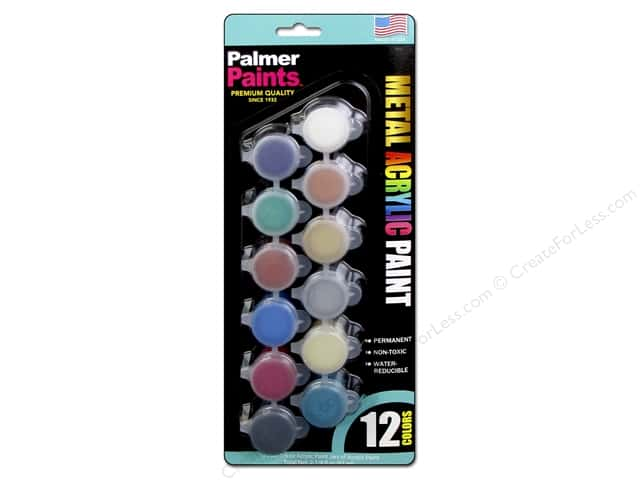 Palmer Acrylic Paint Pot Set - 12 Color Metals