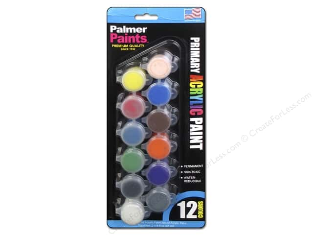 Palmer Acrylic Paint Pot Set - 12 Color Primary