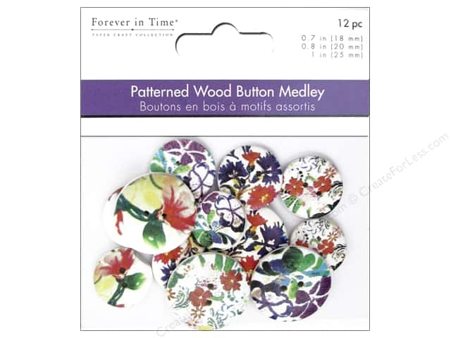 Multicraft Buttons Wood Assorted Floral Art