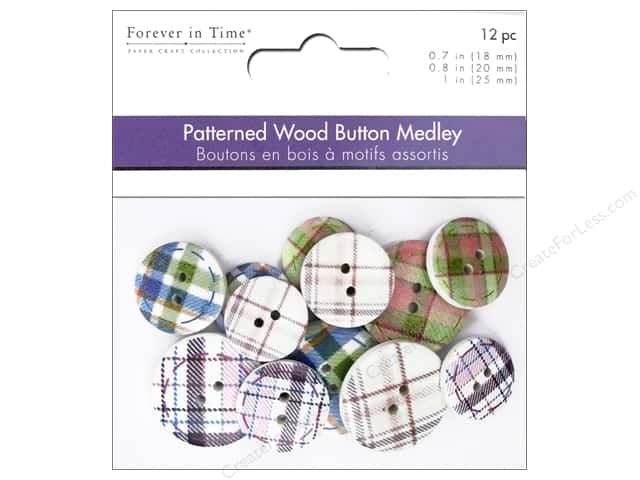 Multicraft Buttons Wood Assorted Tartan