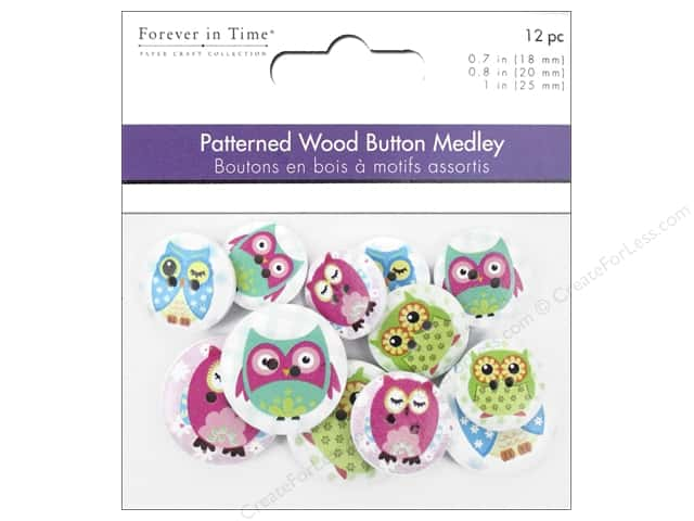 Multicraft Buttons Wood Assorted Owl Mania