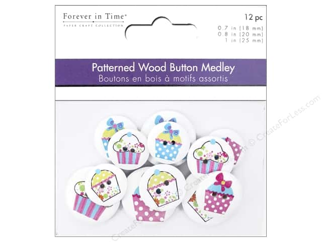 Multicraft Buttons Wood Assorted Cupcakes