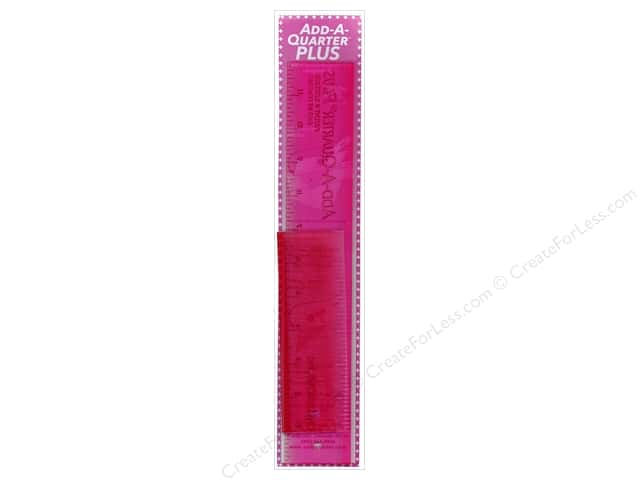 CM Designs Add-A-Quarter Plus Ruler 6 and 12 in. Breast Cancer Awareness Pink