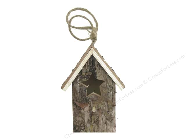 Sierra Pacific Crafts Decor Ornament Birdhouse Birch With Star Opening Natural