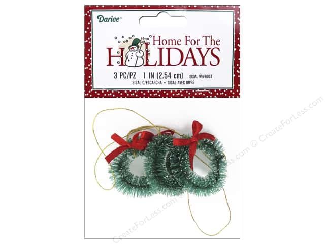 "Darice Decor Holiday 1"" Sisal Wreath Frost 3pc"