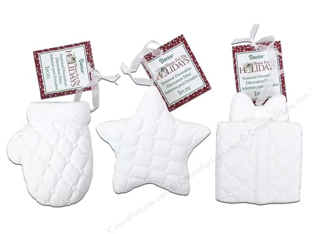 Darice Holiday Ornament Puffed Pattern Assorted White