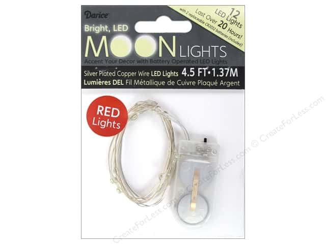 Darice Light Moon LED 4.5ft Silver 12 Light Red