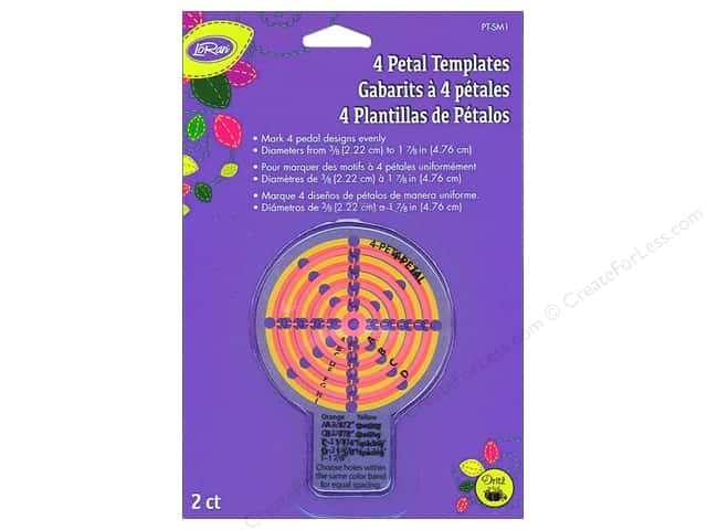 LoRan/Dritz Notions Template 4 Petal Small 2pc