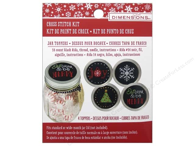 Dimensions Cross Stitch Kit Jar Topper Holiday Cheer