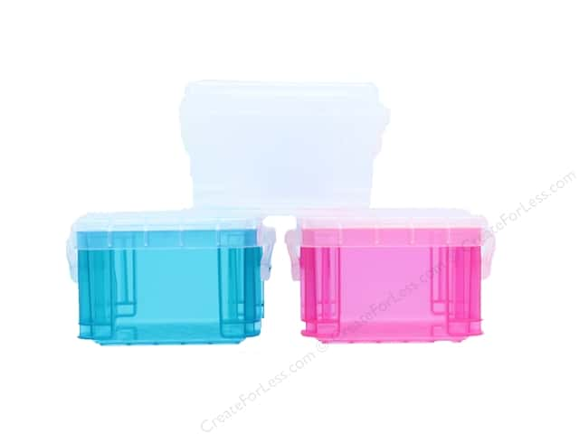 Darice Organizer Box with Lock Tab Translucent Assorted Colors