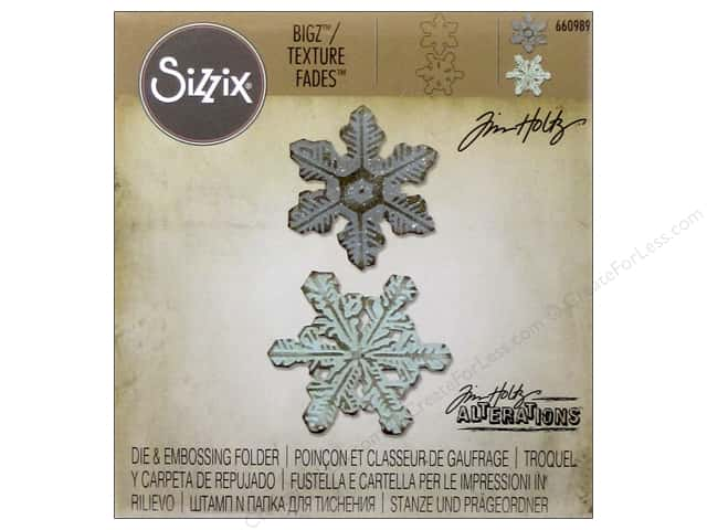 Sizzix Bigz Dies with Texture Fade Embossing Folder Snowflake Duo by Tim Holtz