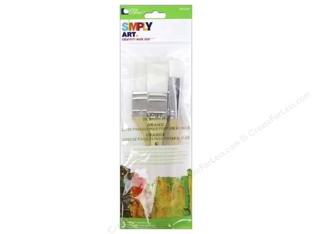 Loew Cornell Simply Art Brush Set Large White Nylon 3pc