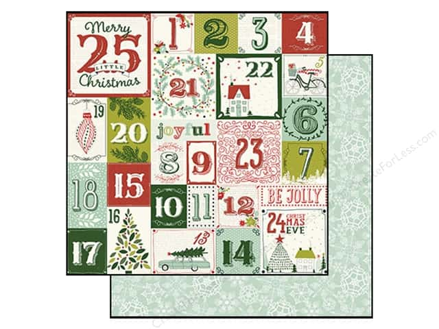 "My Minds Eye Collection Cozy Christmas Paper 12""x 12"" Christmas Countdown (25 sheets)"