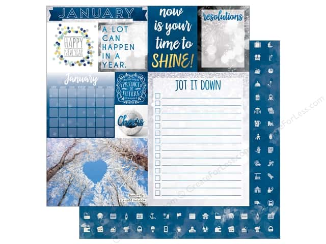 Bo Bunny 12 x 12 in. Paper Calendar Girl Collection January (25 sheets)
