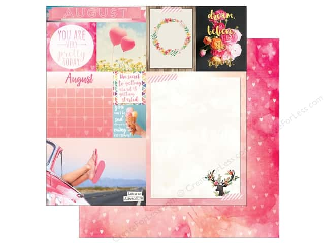 Bo Bunny 12 x 12 in. Paper Calendar Girl Collection August (25 sheets)