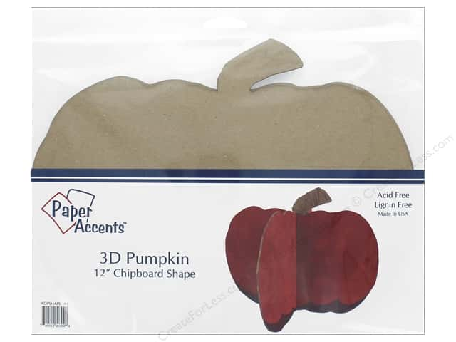 Paper Accents Chipboard Shape 12 in. 3D Pumpkin 1 Set Natural