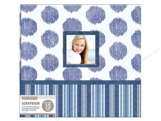 "K&Company Scrapbook Album 12""x 12"" Window Vintage Collage Blue"