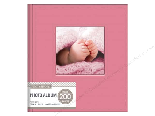 K&Company Photo Album Memo Faux Leather Stitched 2 Up Pink