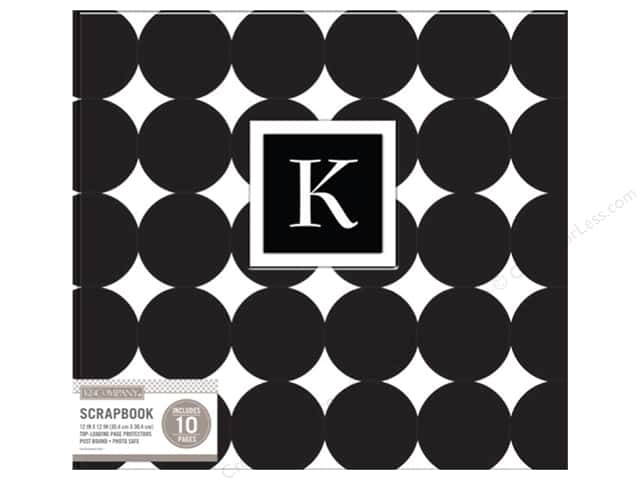 "K&Company Scrapbook Album 12""x 12"" Monogram Dot Black"