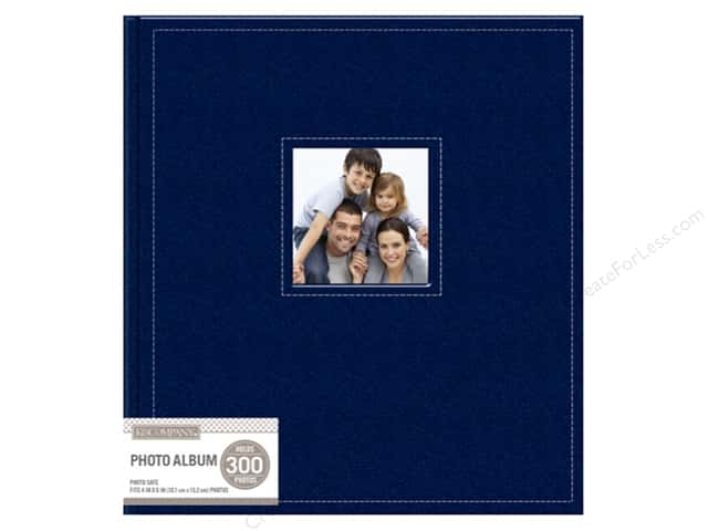 K&Company Photo Album Faux Leather Stitched 5 Up Navy