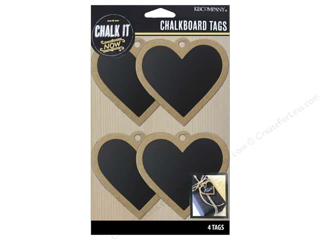 K&Company Chalk It Now Chalkboard Tags Wooden Heart Black
