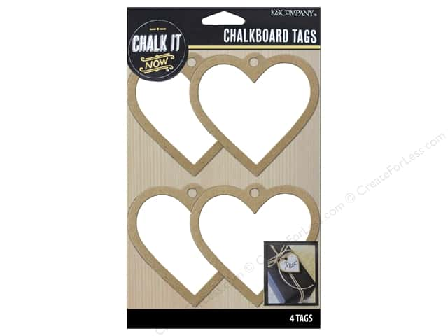K&Company Chalk It Now Chalkboard Tags Wooden Heart White