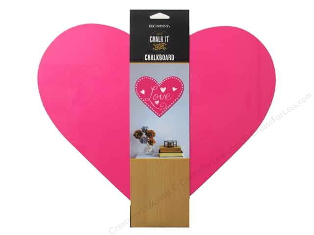 "K&Company Chalk It Now Chalkboard Heart 12""x 10.5"" Hot Pink"