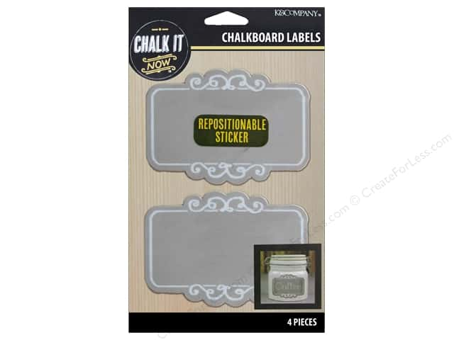 K&Company Chalk It Now Chalkboard Label Scroll Grey