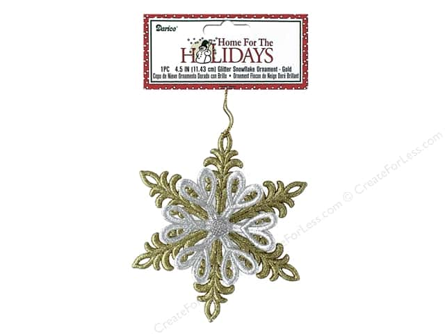 Darice Decor Holiday Ornament Snowflake Glitter Gold 4.5""