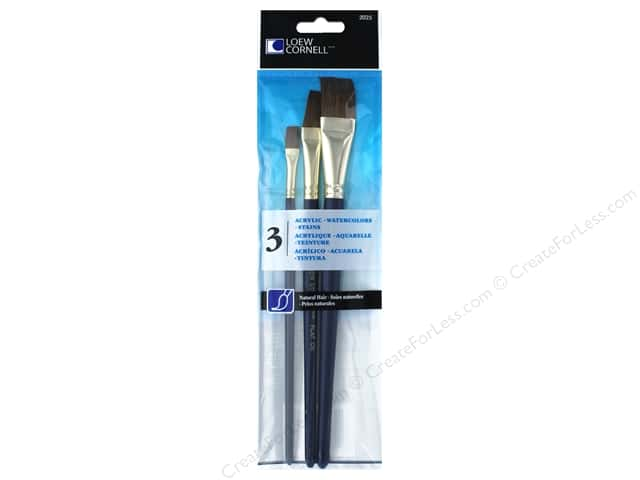 Loew Cornell Brush Set Natural Hair Camel 3pc
