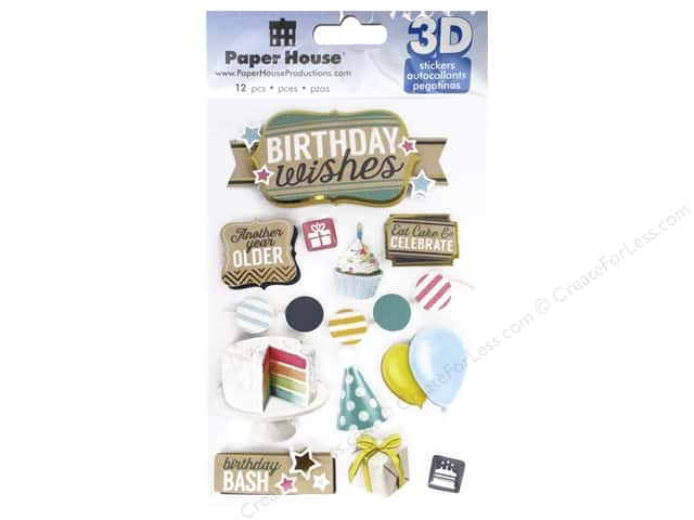 Paper House Sticker 3D Birthday Wishes