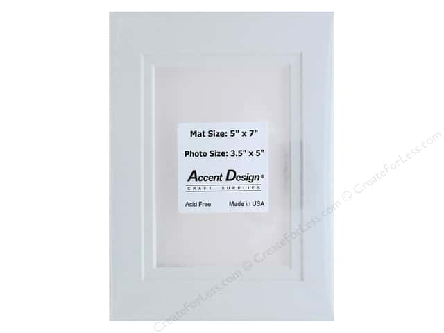 Pre-cut Double Photo Mat Board by Accent Design White Core 5 x 7 in. for 3 1/2 x 5 in. Photo White/White