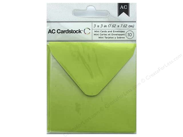 American Crafts Cards & Envelopes 10 pc. Mini 3 x 3 in. Lime