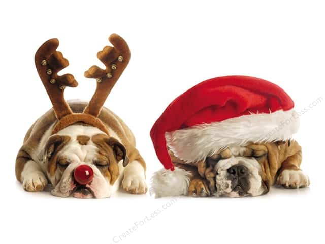 Paper House Die Cut Card Holiday Bulldogs