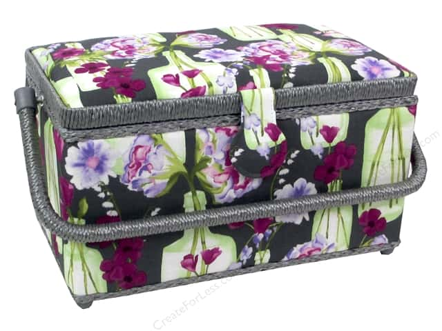 St Jane Sewing Baskets Medium Rectangle Floral Grey