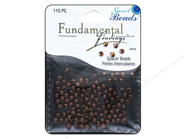 Sweet Beads Fundamental Finding Metal Bead 4 mm Round 115 pc. Antique Copper