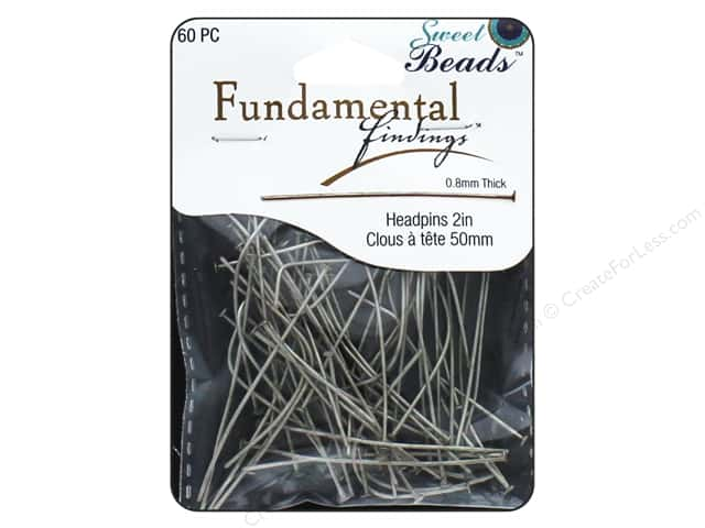 Sweet Beads Fundamental Finding Headpins 50 x .8 mm Antique Silver 60 pc.