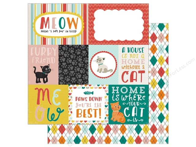 Echo Park 12 x 12 in. Paper Meow Collection Journaling Cards (25 sheets)